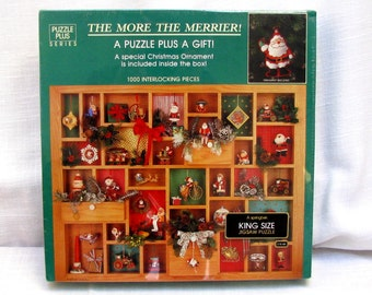 "SPRINGBOK King Size Jigsaw Puzzle PLUS a Gift PZL5957 ""The More The Merrier"" 1000 Pieces Santa Claus Hallmark Keepsake Christmas Ornaments"