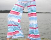 WIDE LEG  palazzo summer beachwear watercolor stripe yoga  festival dance lounge resort pants with fold over  waist