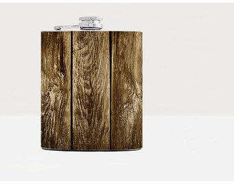 Old Barn Wood Whiskey Flask Bar Accessories Groomsmen Gift ideas Bachelor Party gifts 8 oz Stainless steel Hip flask