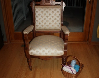 Beautiful Antque Eastlake Arm/Side Chair with beautiful Upholstred seat and back