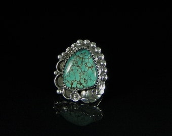 Natural Turquoise Ring Sterling Silver Handmade Size 7.0, R0175