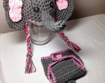 Crochet newborn through 12mos BOY OR GIRL elephant outfit elephant hat and diaper cover photography prop