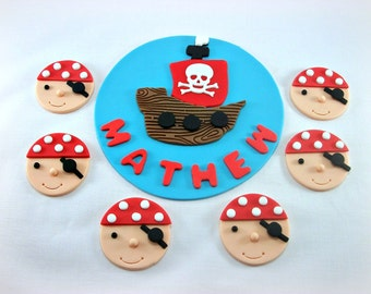 Pirate Fondant Cake Topper & 12 Pirate Cupcake Toppers, Pirate Birthday Party, Pirate Baby Shower, Pirate Party Package, Edible Cake Topper