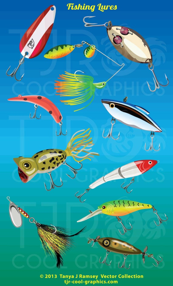 Items similar to fishing lures collection clip art on etsy for Fishing lure collection