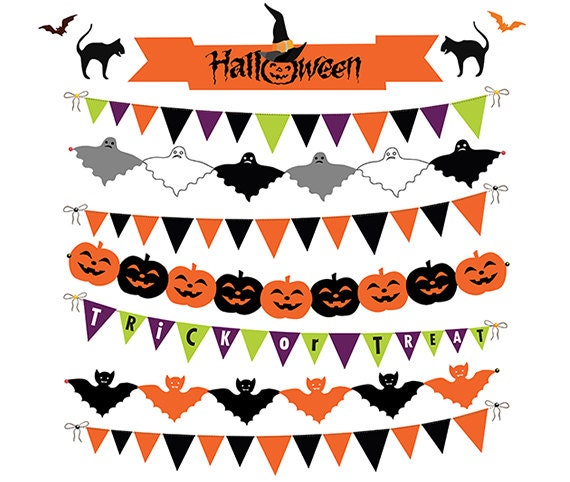 Items similar to Halloween Bunting Banner Clipart, Digital ...