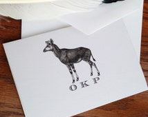 African Okapi Custom Stationery Set of 10 - 300 Bespoke Stationery, 100% Cotton Savoy Graduation Thank You Note Card First Anniversary Gift