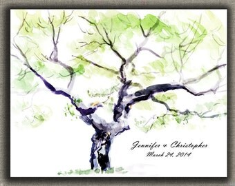 Watercolor ThumbPrint Fingerprint  Signature Wedding Tree Guest Book Alternative / Gift /  200 Signatures