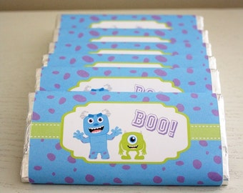 Instant Download - Chocolate Bar Wrappers - Monsters Inc / Monsters University / Sully / Mike