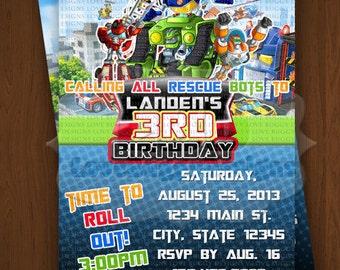 Rescue Bots Invitation, Rescue Bots Birthday Invitations, Rescue Bots Party Supplies Printables - Style 2, No Photo