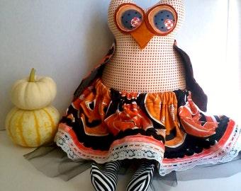 Halloween owl doll, Stuffed owl doll, Owl decoration, Autumn Fall decor, Orange black, Patchwork cloth owl, Fabric owl art doll, Owl girl