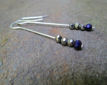 Purple and silver beaded earrings - Sterling Silver plated ear wires