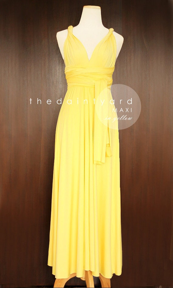 Maxi yellow bridesmaid dress convertible dress by thedaintyard for Yellow maxi dress for wedding