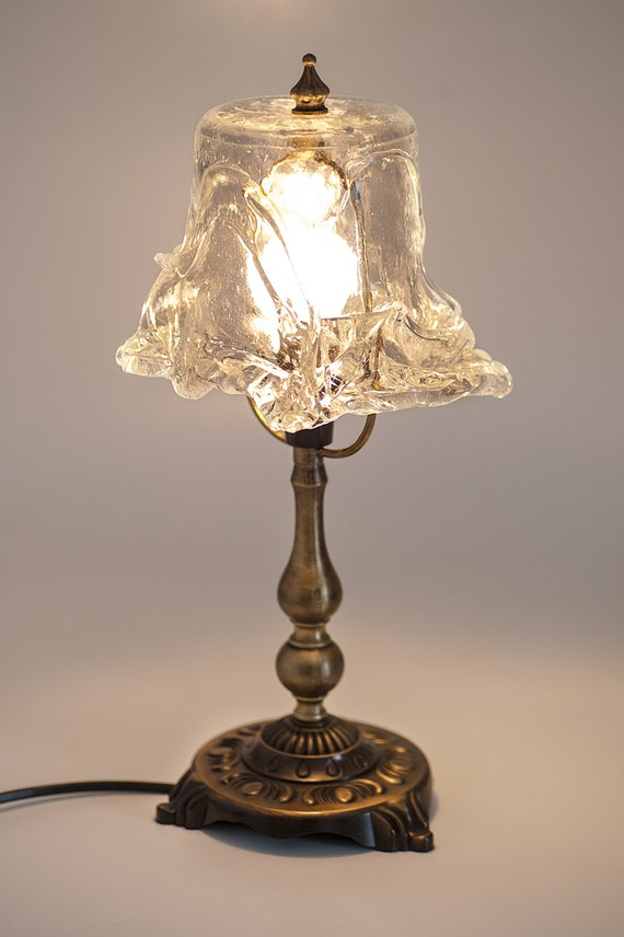 Clear Glass Table Lamp Art Glass Lighting Small By AnatArtGlass