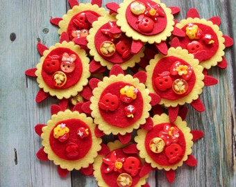 SALE - Set of 2 FUNKY FLOWERS - Sweet Handmade Felt Embellishments for Scrapbooking, Cardmaking, Arts & Crafts