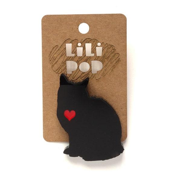 "Brooch ""Cat's heart"" (Lili0184)... lasercut recycled acrylic."