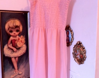 Rose Pink Chiffon Transparent Dress