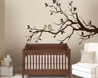 SALE Tree Branch Woodland Nursery Decor with Birds and Hearts 2 color Wall Vinyl Decal Sticker Tree decals