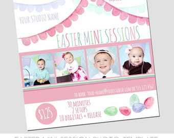 INSTANT DOWNLOAD - Easter Mini Session Photography Template - Marketing Template - Easter Eggs - Watercolor - Pennant Banner