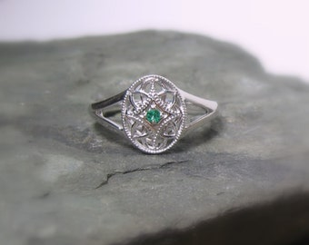 Emerald Gemstone Sterling Promise Ring, Ready to Ship, Size 8.25