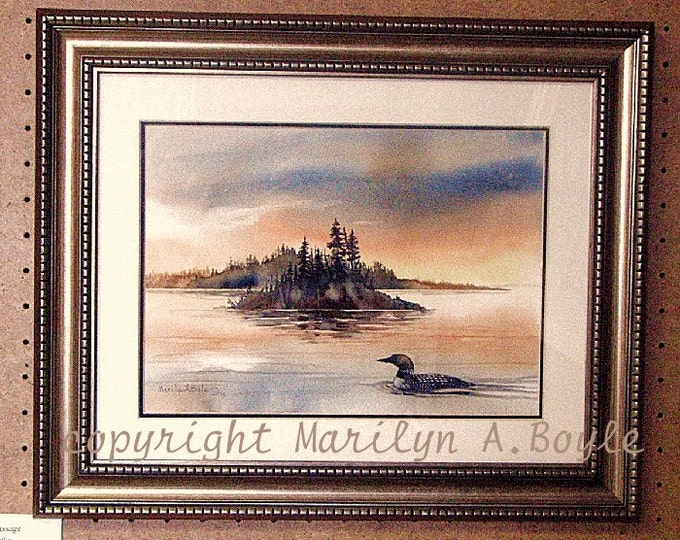 ORIGINAL WATERCOLOR PAINTING - free shipping, Loon on lake at sunrise; island, pale sky, Canadian art, wilderness lake, wall art