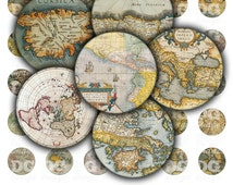 """Vintage Maps Digital Collage Sheet Circle 12mm 16mm 20mm 25mm (1/2"""" 1"""") bottlecaps, pendants, earrings, buttons, cufflink, magnets stickers"""