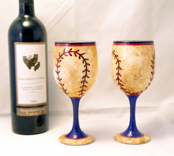 2 Blue and Red Worn Baseball Hand Painted Wine Glasses - (Set of 2)