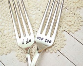 Wedding Day Forks - Matching Pair - Custom Hand Stamped - Mr. Mrs. - His Hers - Bride Groom - I Do Me Too - Mine Yours - Husband Wife