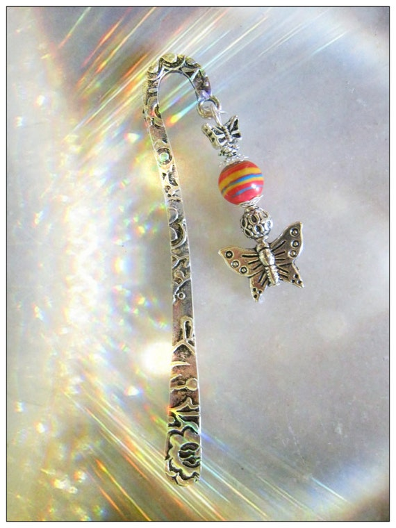 Handmade Silver Bookmark with Striped Gemstone & Butterflies by IreneDesign2011