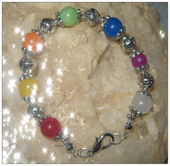 Handmade Small Silver Chakra Bracelet with 7 Gemstones by IreneDesign2011
