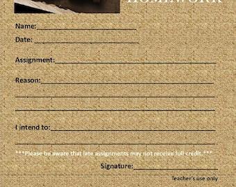 Oops I Forgot My Homework - Digital Instant Download - Teacher Organization - Fill out paper sheet