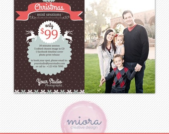 Christmas/Winter Mini Session Photoshop Template for Photographer - Photography Marketing Material - INSTANT DOWNLOAD - MS015