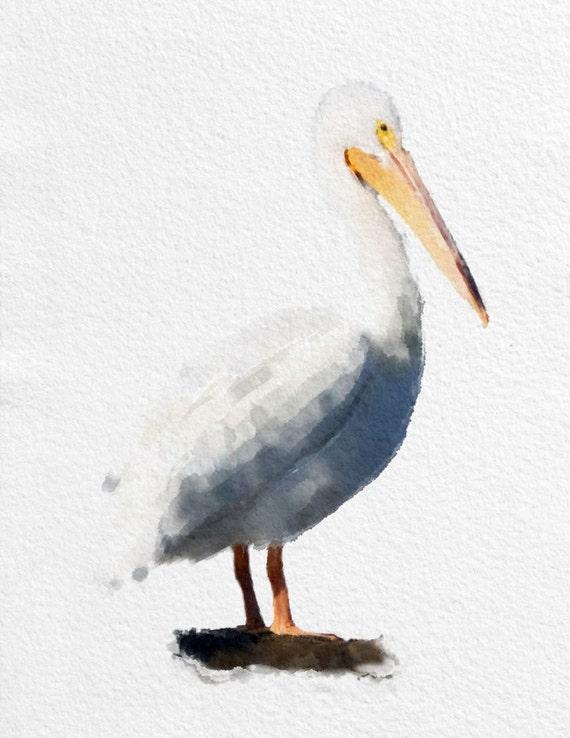 Pelican Art Print Bird Black White Grey Yellow Home Decor