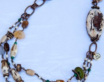 Land of Enchantment Necklace - matte agate, citrine, lampwork discs, african trade beads and bone