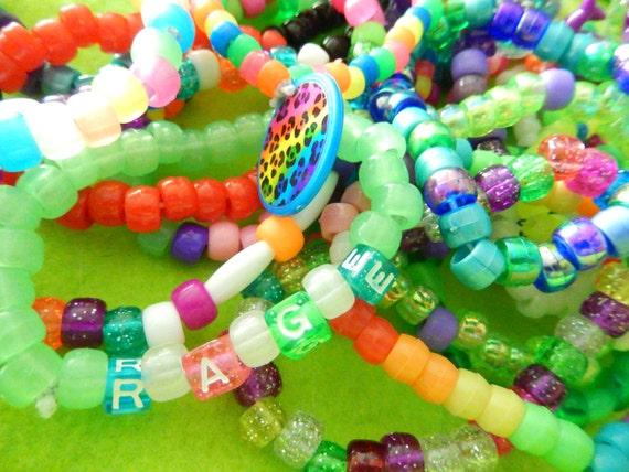 Kandi Pony Beads And Rave: 10 Kandi Bracelet Pony Bead Rave Wear PLUR Edm By