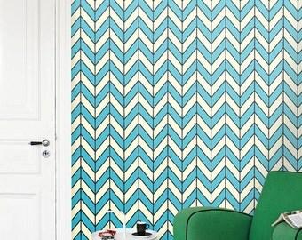Removable self-adhesive vinyl Wallpaper wall sticker  decal- Chevron pattern C005