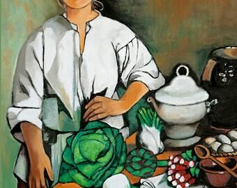 Vegetables, Kitchen Art, Canvas print,  canvas print 36x48, Mediterranean Village Life, European Art, Home Decor, Modern Art, Country Life