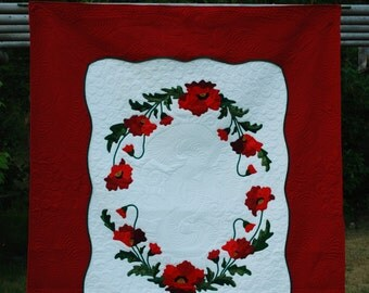 Red Poppy Quilt, king size, hand appliqued, made in the Pacific Northwest, ooak