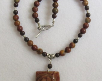 Stunning Succor Creek Jasper Carved Horse Pendant Necklace with Picasso Jasper Beadwork