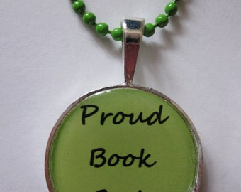 CLEARANCE Proud Book Geek Green Cameo Necklace