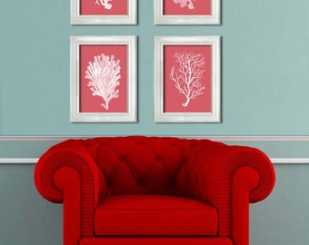 Coral Prints - White on Coral Set of 4 Nautical Print Nautical Decor Coral print coral decor coral art Nautical Wall Art Nautical Art