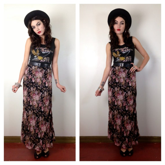 90s floral maxi skirt high waisted roses by shesmylilrocknroll