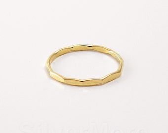 Thick Yellow 14k Gold Filled Hammered Stacking Ring, Long Faceted ring (16 gauge)
