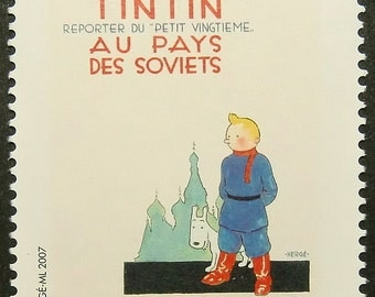 Tintin in the Land of the Soviets -Handmade Framed Postage Stamp Art 13568