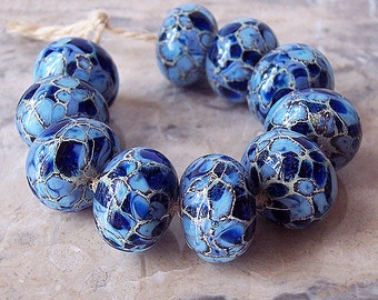 Handmade Lampwork Glass Beads  (2 pcs) - Silvered Ivory Periwinkle Dark Blue 15-16 mm x 10-11  mm
