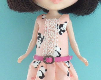 Blythe Doll Outfit Panda Print Pink Dress Belt Set