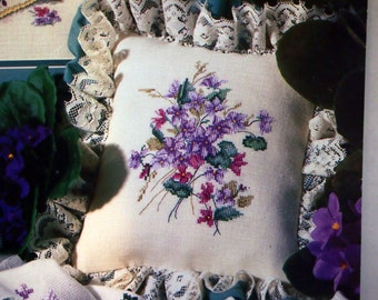 Sweet Violets Book Forty-Two By Paula Vaughan Vintage Cross Stitch Pattern Leaflet 1991