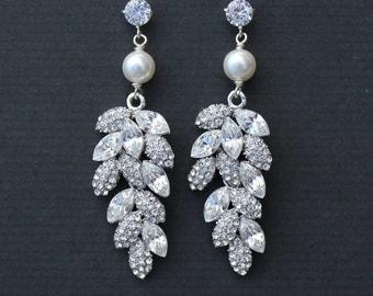 Bridal Chandelier Earrings, Crystal Leaf and Pearl Earrings, Bridal Jewelry, Wedding Jewelry, TINA