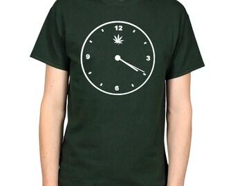 419 420 T-Shirt, Clock Face Shirt, Time for Weed Clothing, Wake Bake Smoke Pot Leaf Stoner Graphic Tee
