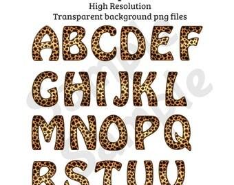 26 Cheetah Leopard Alphabet Upper Case Letters Safari Camp Wild Animal Clip Art (Not Font)