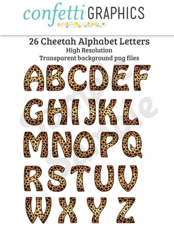 26 Cheetah Leopard Alphabet Upper Case Letters Safari Camp